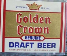 Golden Crown Draft Beer Bottle Label.