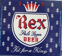 Rex Pale Lager Beer Bottle Label.