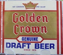 Golden Crown Beer 1 Qt. Bottle Label.