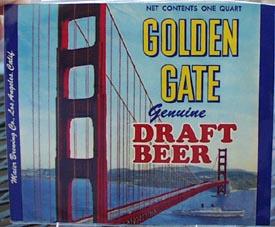 Golden Gate Draft Beer Bottle Label.