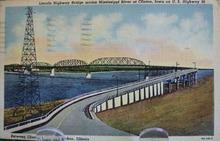 Lincoln Hwy Bridge Fulton, Illinois Postcard