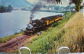 Steam Engine Near River Vermont Postcard
