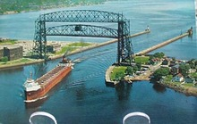 Aerial Lift Bridge Duluth Minn Postcard