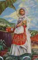 Lady in White Bonnett Mexico Postcard