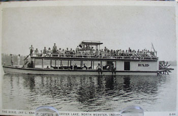 Boat, The Dixie, Webster Lake IN Postcard