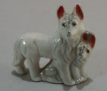 Old porcelain German Shepard dogs mini figurine