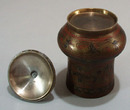 Covered etch and ink Jar from India
