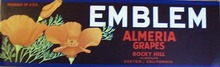 Emblem Almria Grapes Crate Label