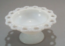 Lace Edge in milk glass footed compote.