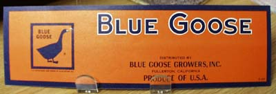 Blue Goose  Crate Label