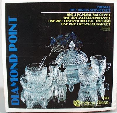 Indiana Glass Diamond point 9 pc set.