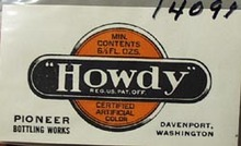 Howdy Pioneer Bottle Works Bottle Label