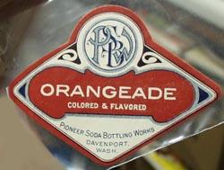 Pioneer Soda Bottle Works Orangeade Bottle Label.
