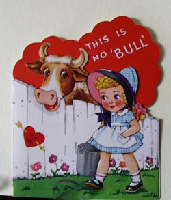 Little Girl with Bucket and Cow Valentine.