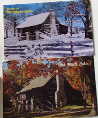 Old Matts Cabin Fall & Winter Branson MO Postcard
