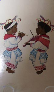 Mexico Post Card Two Children & Music