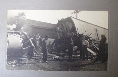 Collection of 9 Pictures of Track & Train Wreck.