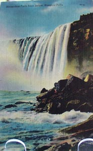 Horse shoe Falls with Rock Postcard