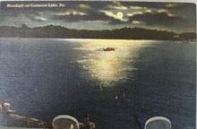 Moonlight on Conneaut Lake Pa Postcard