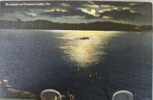 Moonlight on Conneaut Lake Pa Postcard
