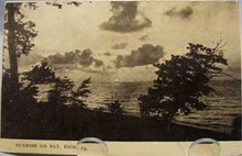 Sunrise on Bay, Erie Pa.  postcard