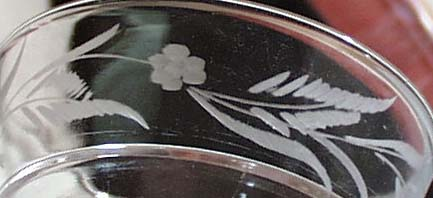 Pr of early etched sherbets with a fern and flower