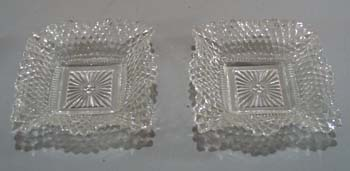 Pair of pressed glass ruffled nut dishes