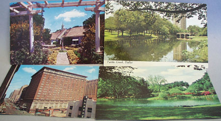 Turtle Creek Dallas & 3 Other Postcards