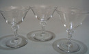 Set of 3 sherbet / champaign glases, with unique cog