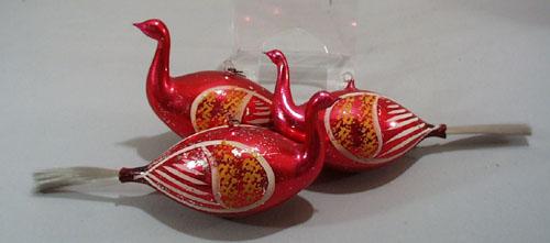 Peafowl mercury ornaments (3)