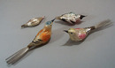 4 mercury glass birds, old, 2 are clip feet birds,