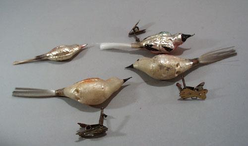 4 mercury glass birds, old, 2 are clip feet birds,