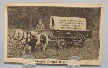 Pioneer Covered Wagon goes around the world with pony