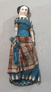 Cival War Era Doll, Bright blue dress with hand embroidery work