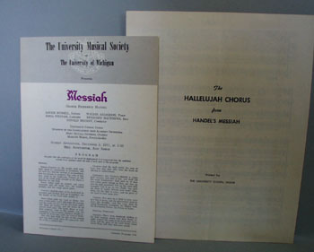 Univ. Michigan Program & Sheet Music Messiah.