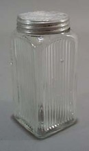 Primitive kitchen refrigerator jar.  Clear glass jar