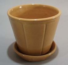 Yelloware mustard colored flower pot