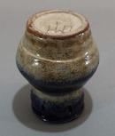 Unusual stoneware pot with cobalt blue