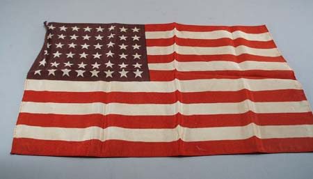 48 star silk flag. Nice little flag with 48 white stars