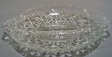 Divided Glass relish bowl with pressed quilted star
