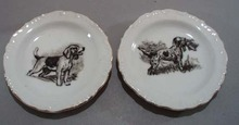 Pr Dog nut dishes, wonderful porcelain little plates
