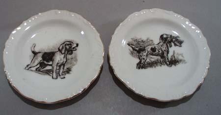 Pr Dog nut dishes, wonderful porcelain little plates