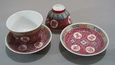 Pr of Rose color rice bowls