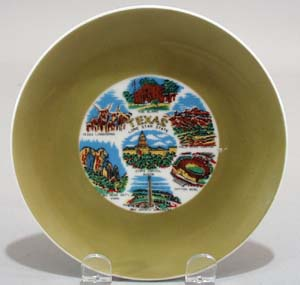 Texas souvineer plate, Green wide borde