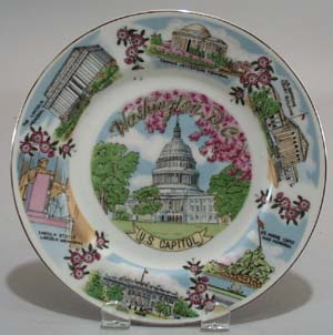 Washington DC Souvineer Plate, featuring the White House,