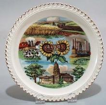 Harkerware Kansas state souvineer plate