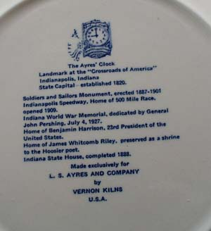 Indianapolis Speedway souvineer plate by Vernon Kilns