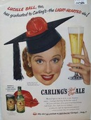 Carlings RED Cap Ale & Lucille Ball Ad 1951
