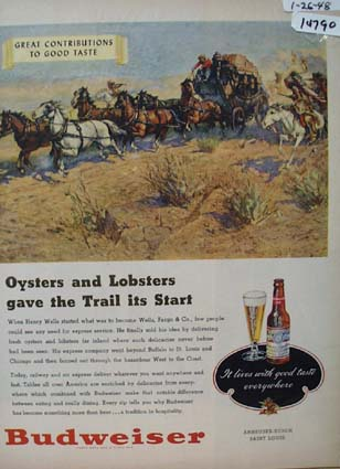 Budweiser Beer Oysters and Lobsters Ad 1948