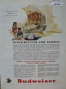 Budweiser Beer Pinch Hitting for Norway Ad 1942